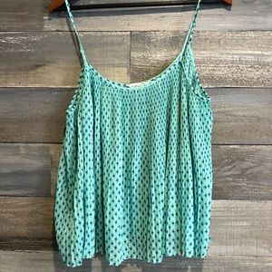 BCBG pleated sheer mint patterned crop tank L